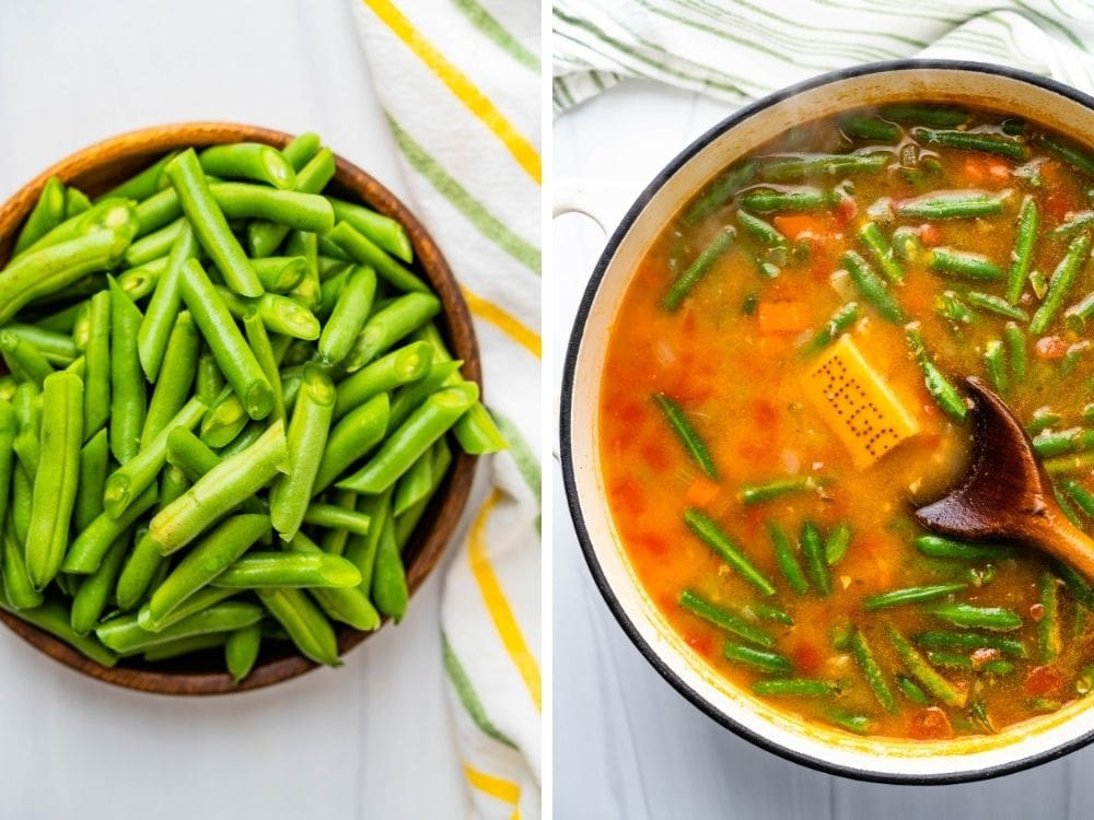Finish the vegetable barley soup with green beans and a parmesan rind.