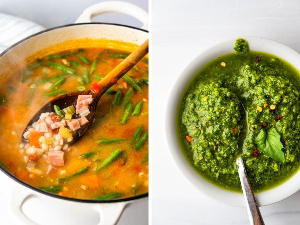 Side by side photos of ham and vegetable soup and fresh basil pistou.