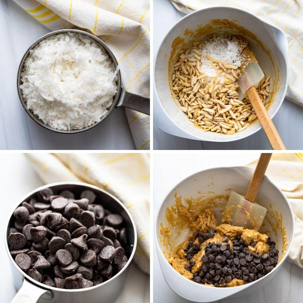 adding coconut, almonds and chocolate chips to the cookie batter.