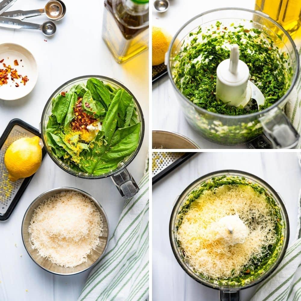 How to make basil pistou in a mini food processor.