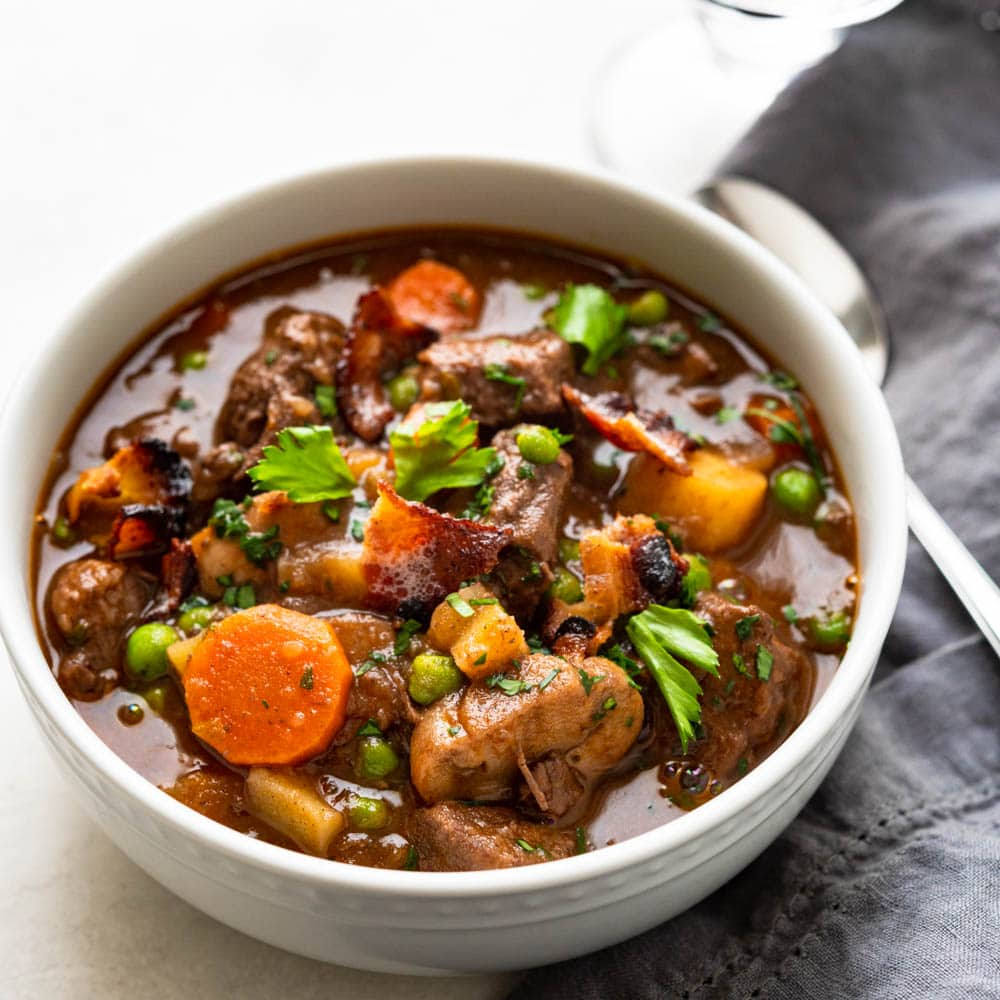 A hearty bowl of homemade beef stew.