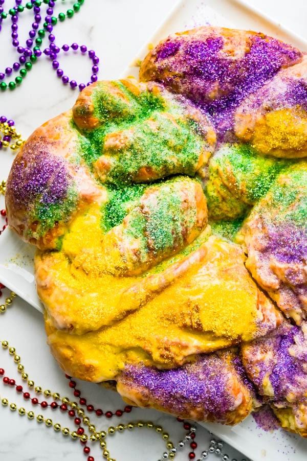 Overhead of the classic Mardi Gras King Cake.
