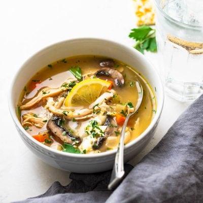 Egg Free Greek Chicken Soup with Lemon & Feta