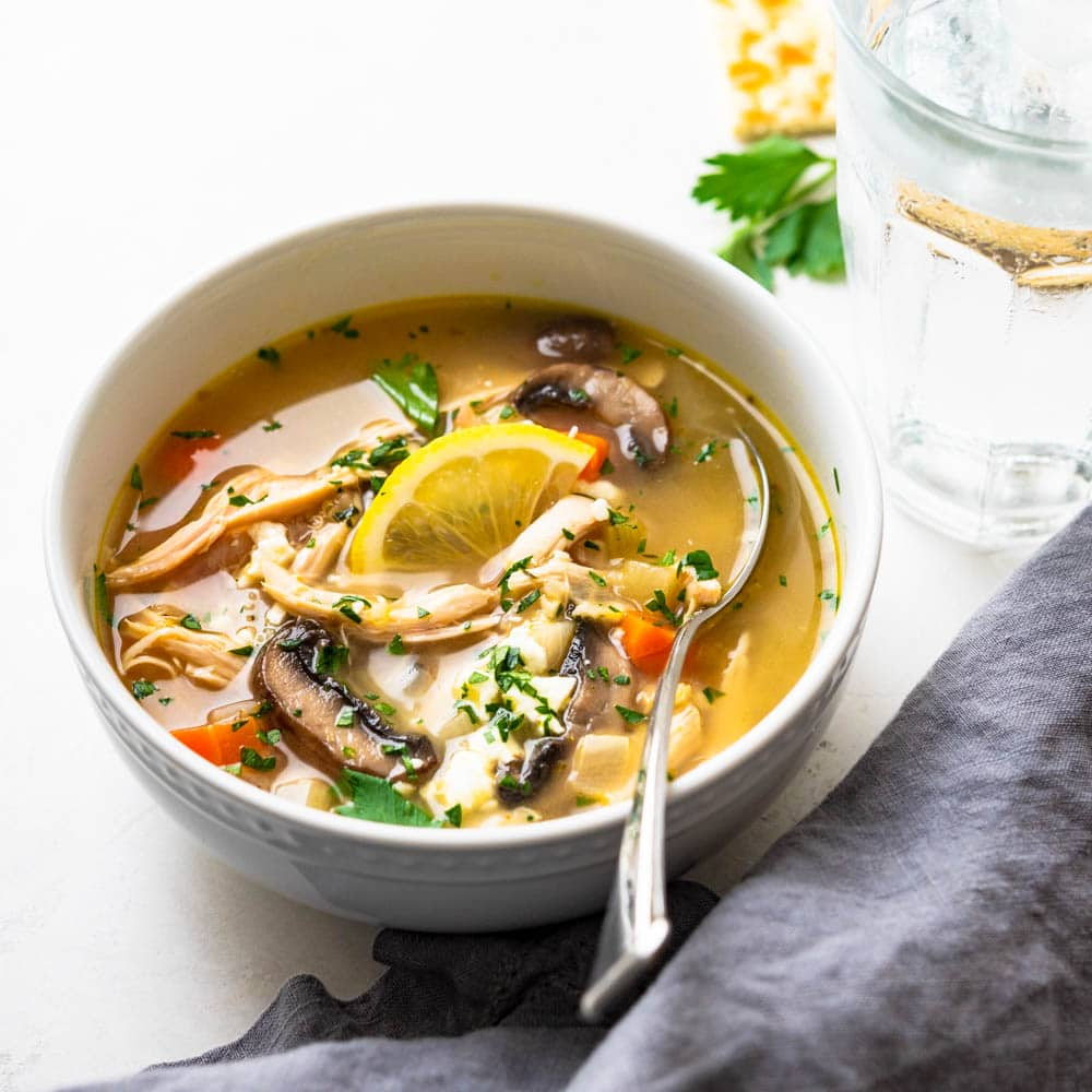 Greek style Lemon Chicken Soup with Quinoa