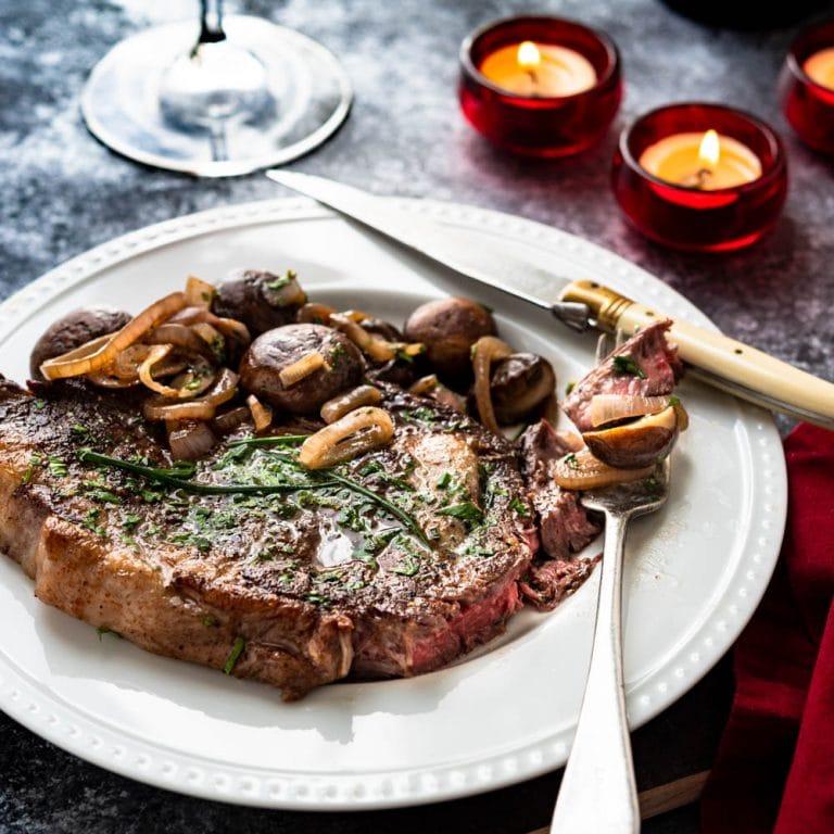 pan seared ribeye with mushrooms and shallots