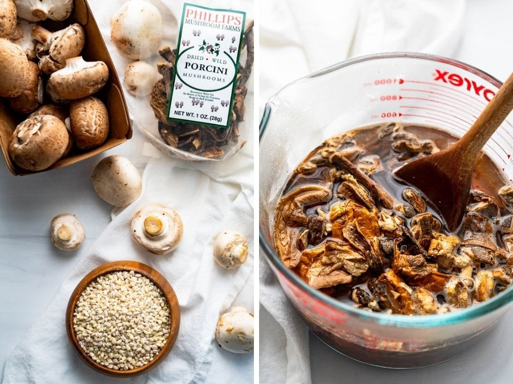 An image of dried and fresh mushrooms and soaking porcini in hot water.