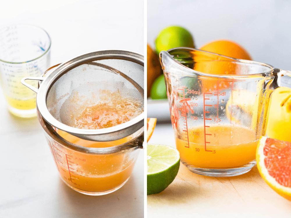 straining pulp from cara cara orange juice.