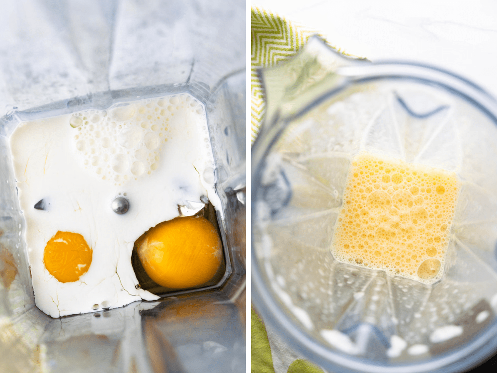 Blending eggs and milk in a blender for a fluffy omelette.