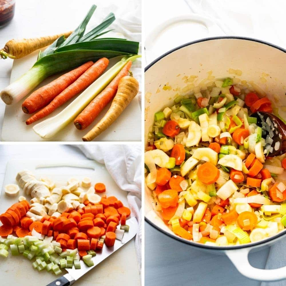 Vegetables like parsnips, carrots, celery and leeks being prepped for the barley soup.