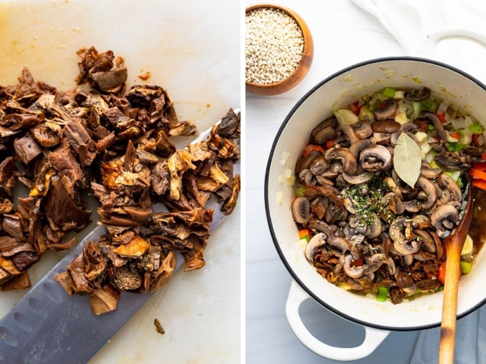 Adding soaked dried porcini mushrooms to the vegan soup.