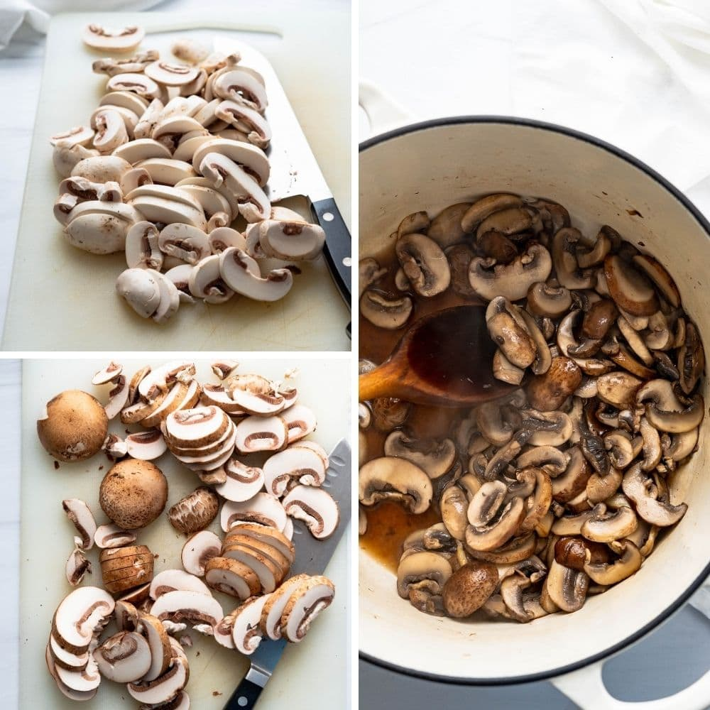 chopping and sweating the fresh mushrooms in a pot for the vegan soup.