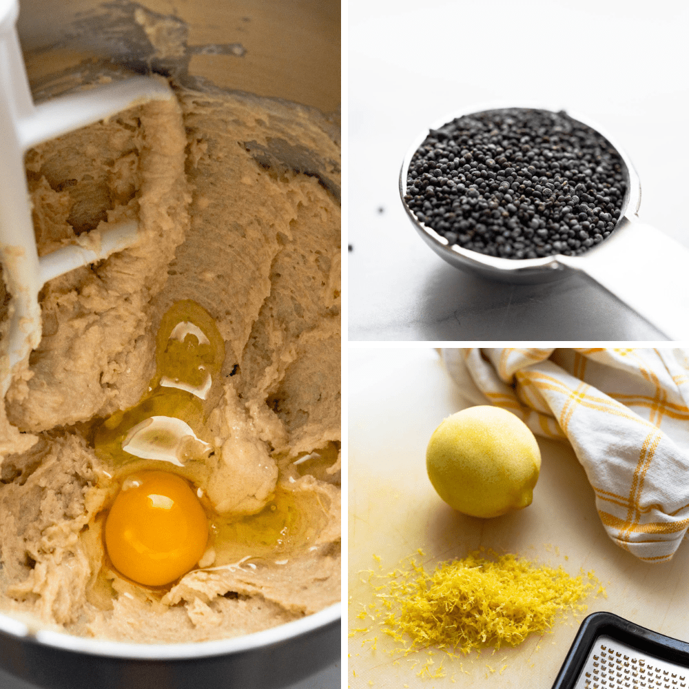 adding an egg, lemon zest and poppyseeds to the cookie dough.