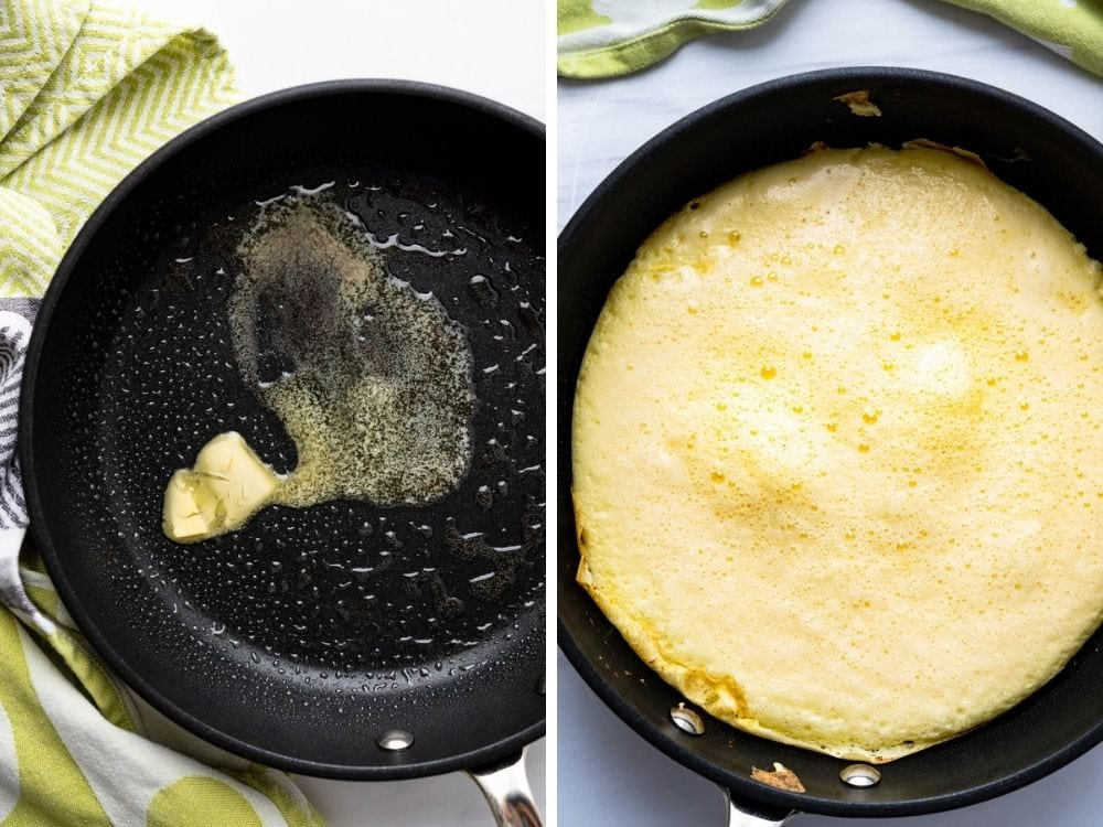 Heating the pan with vegetable spray and butter, and pouring the omelette into the hot skillet to cook.