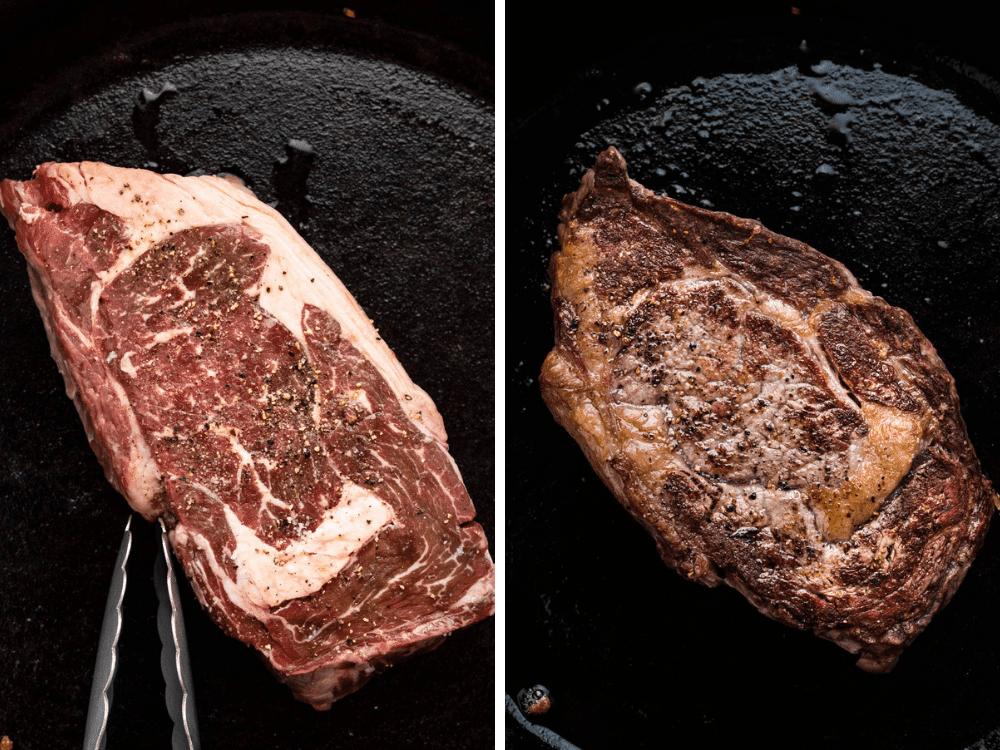 searing ribeye steak in a cast iron pan.
