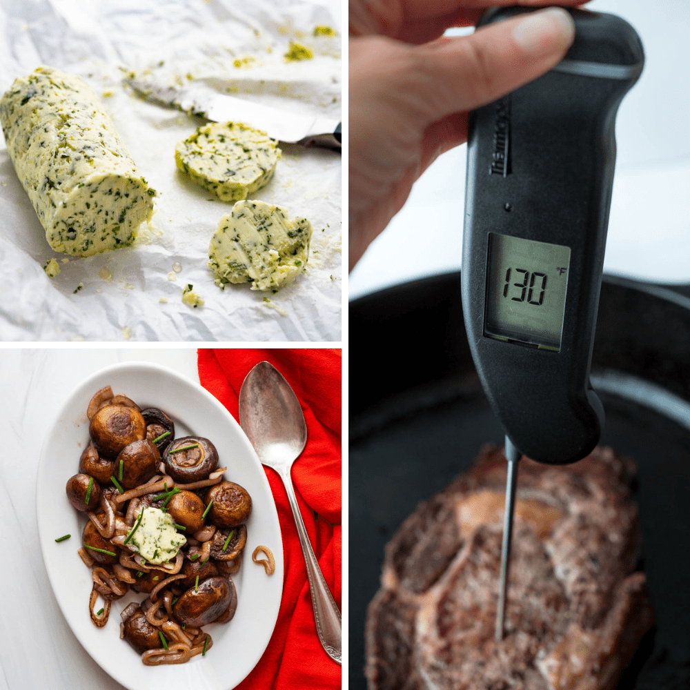 slicing béarnaise butter and taking the temperature of the ribeye steak.