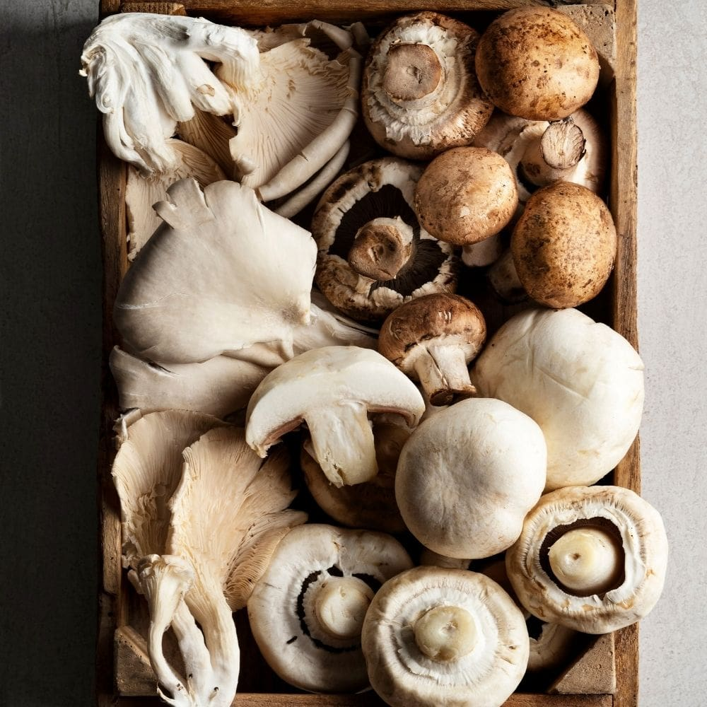 an assortment of mushrooms for an omelette.