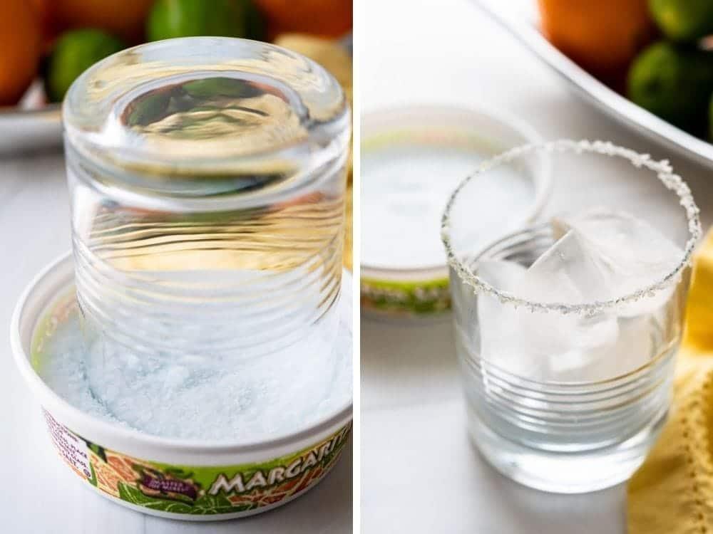 salting the rim of the margarita glass.