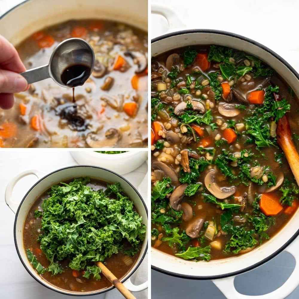 stirring in balsamic, soy sauce and kale to finish the vegan mushroom soup.
