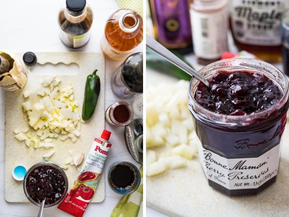 ingredients for cherry bbq sauce on a cutting board.