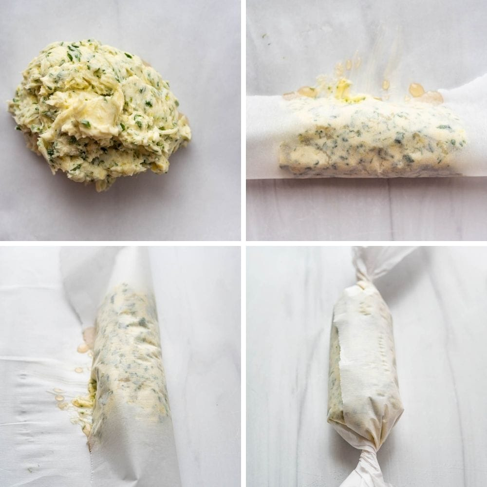 Rolling compound butter into a log to refrigerate.