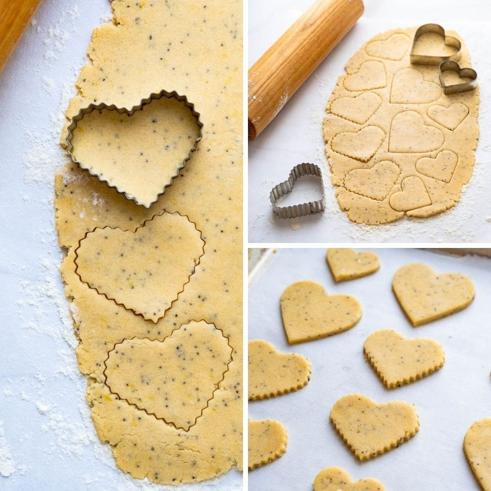 cutting out heart shaped Valentine cookies.