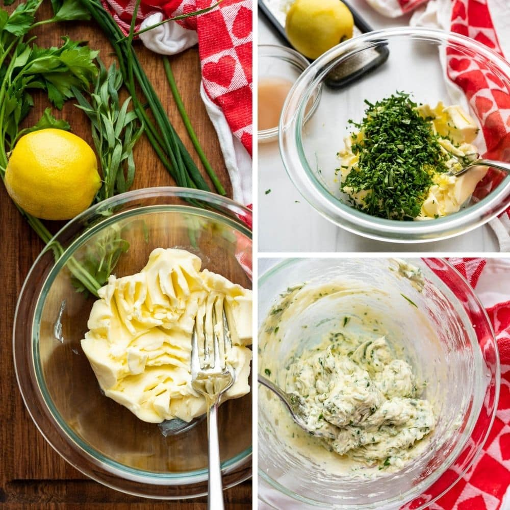 Mashing butter, herbs and infused vinegar for béarnaise butter.