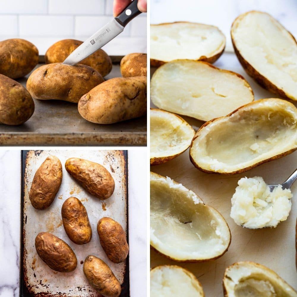 baking and scooping potato shells.