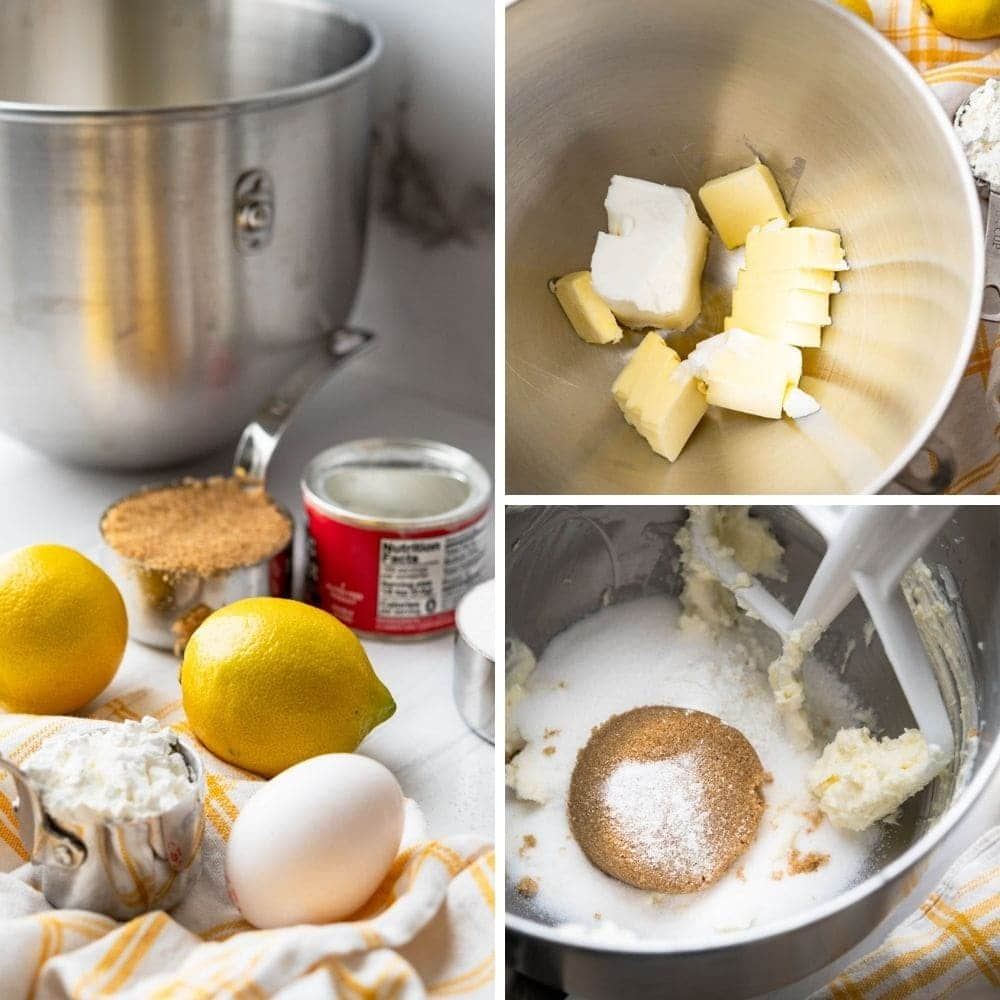 Ingredients for valentine cookies and creaming the sugar with the butter.