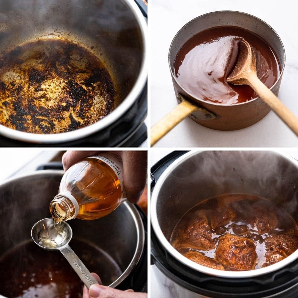 deglazing the Instant pot with chicken broth, bbq sauce and vinegar.
