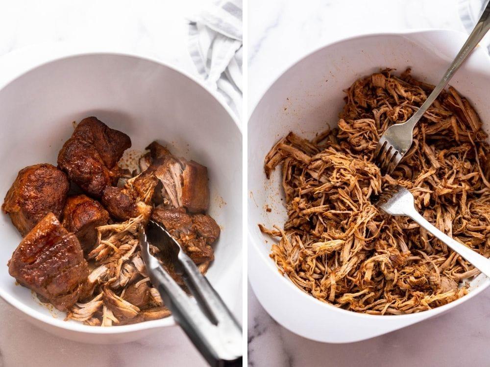 Shredding bbq pulled pork tenderloin with forks.