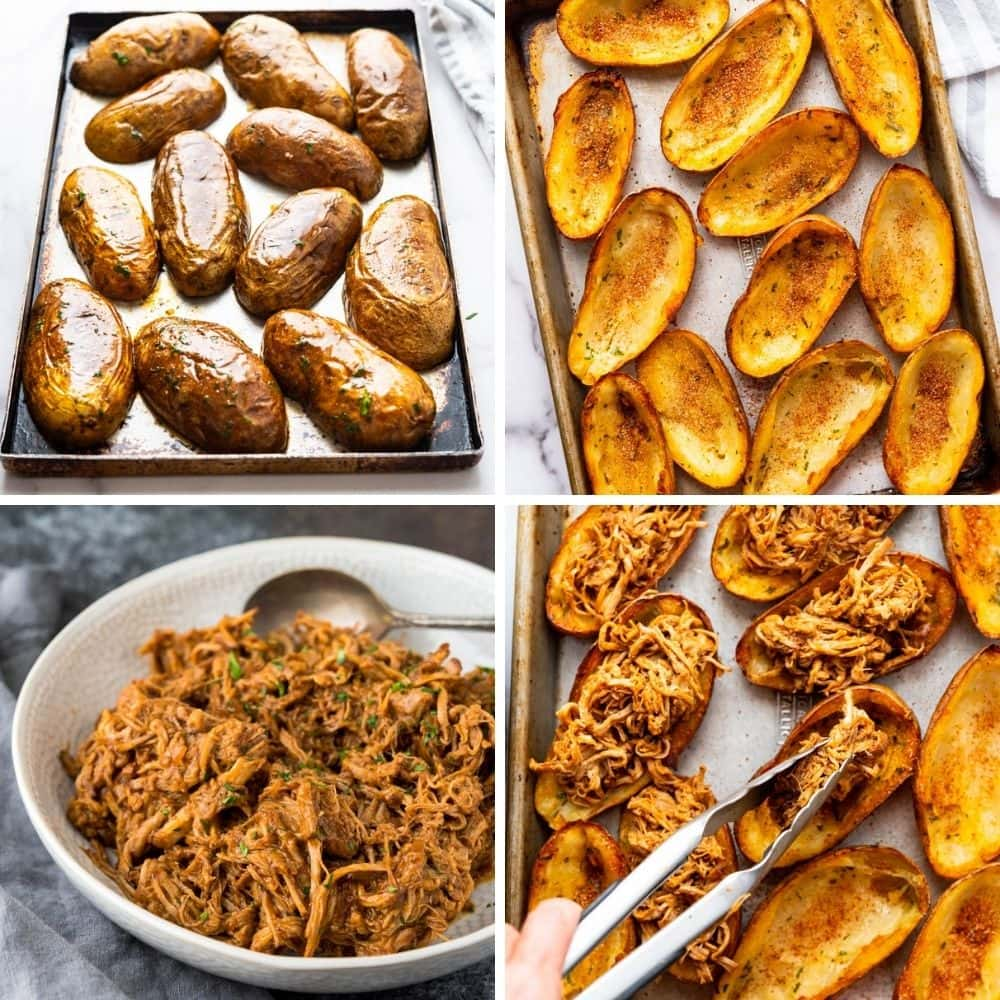 baking potato skins and filling with pulled pork.
