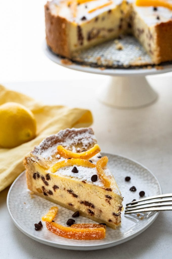 a slice of ricotta pie with citron.