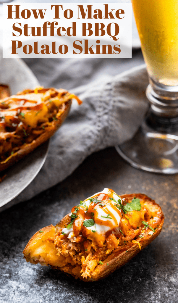 a pin of the pulled pork potato skins.