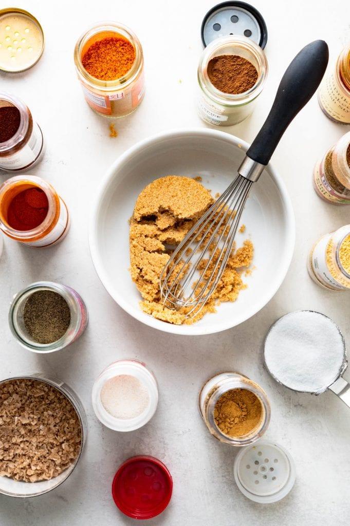 Mixing ingredients for Kansas City dry rub.