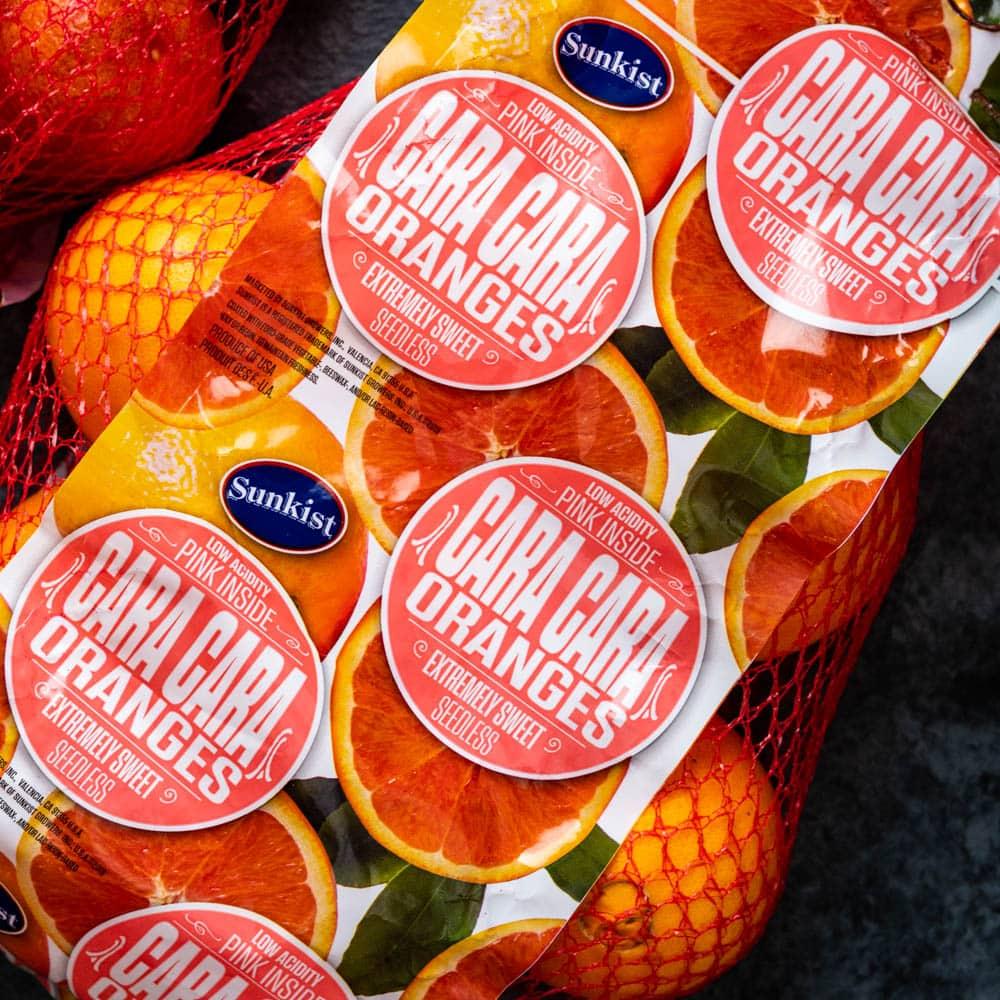 a bag of Sunkist Cara Cara oranges.