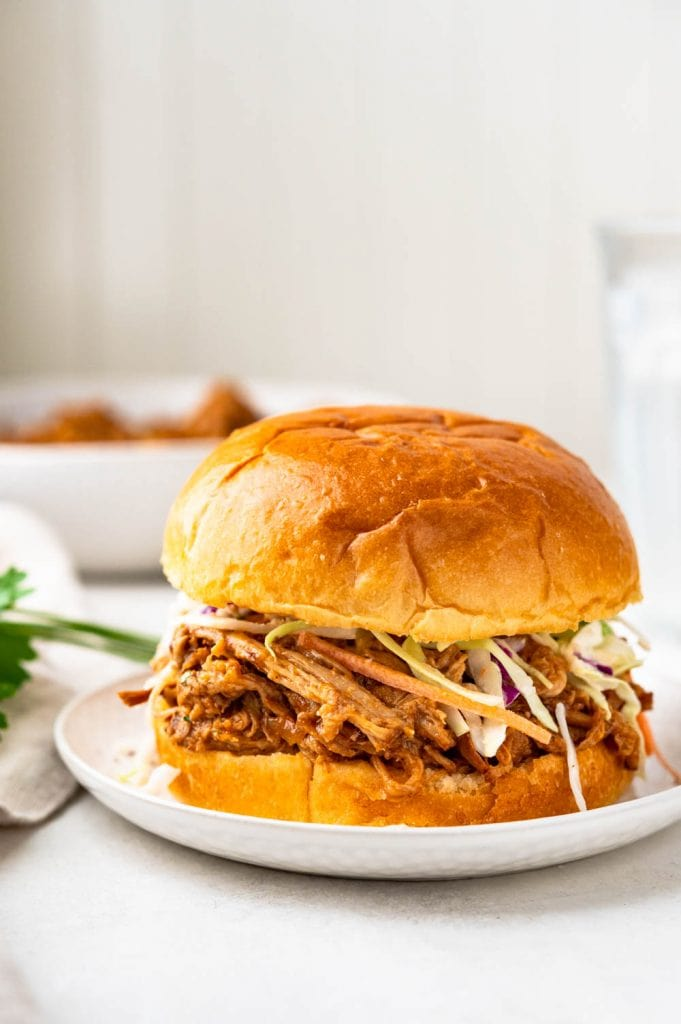 easy pulled pork sandwich with coleslaw.