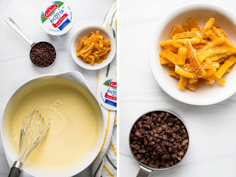 making the ricotta batter and adding citron and chocolate chips.