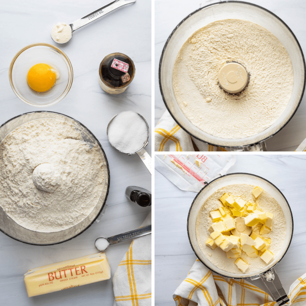 mixing dry ingredients and adding butter to pasta frolla.