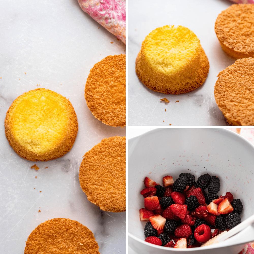 mini sponge cakes for the dessert.