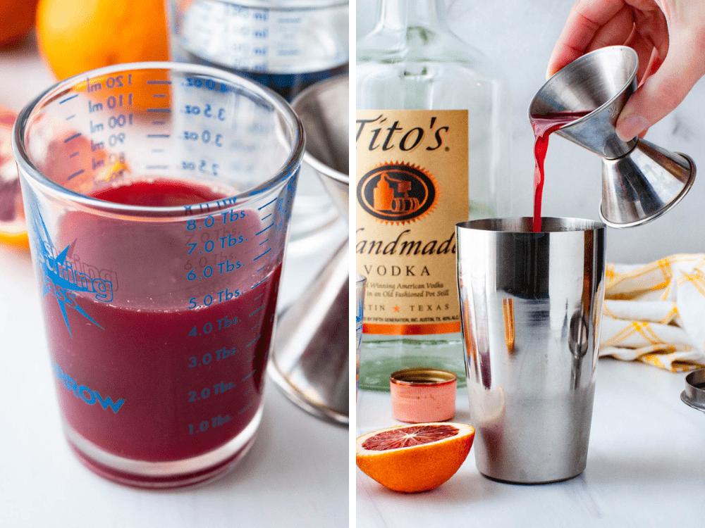 Adding blood orange juice to a cocktail shaker.