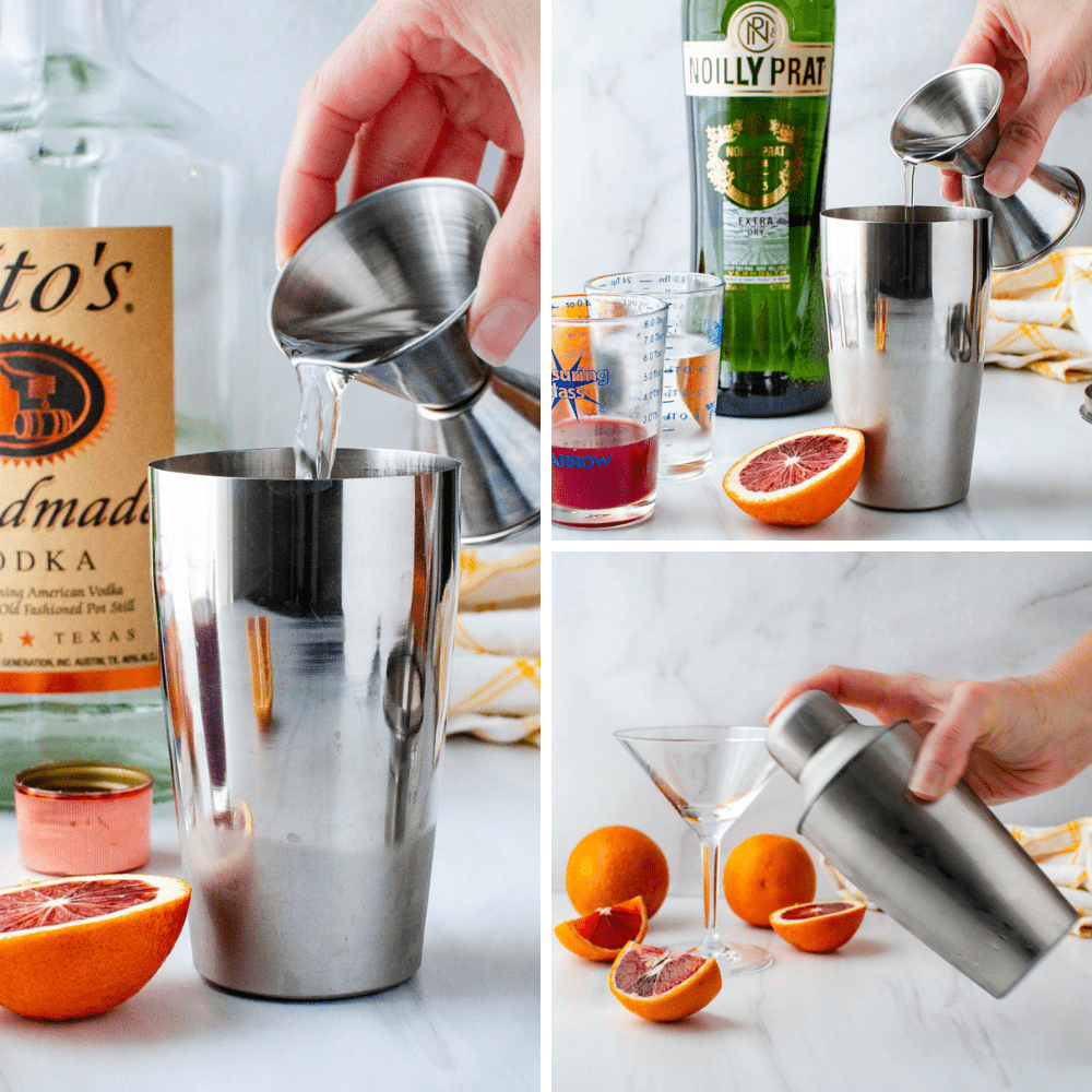 Adding vodka, vermouth & simple syrup to a shaker.