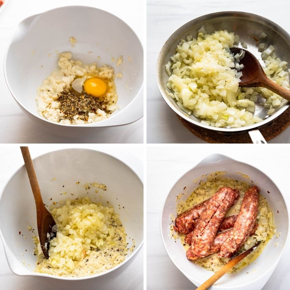 combining the meatball ingredients in a bowl.