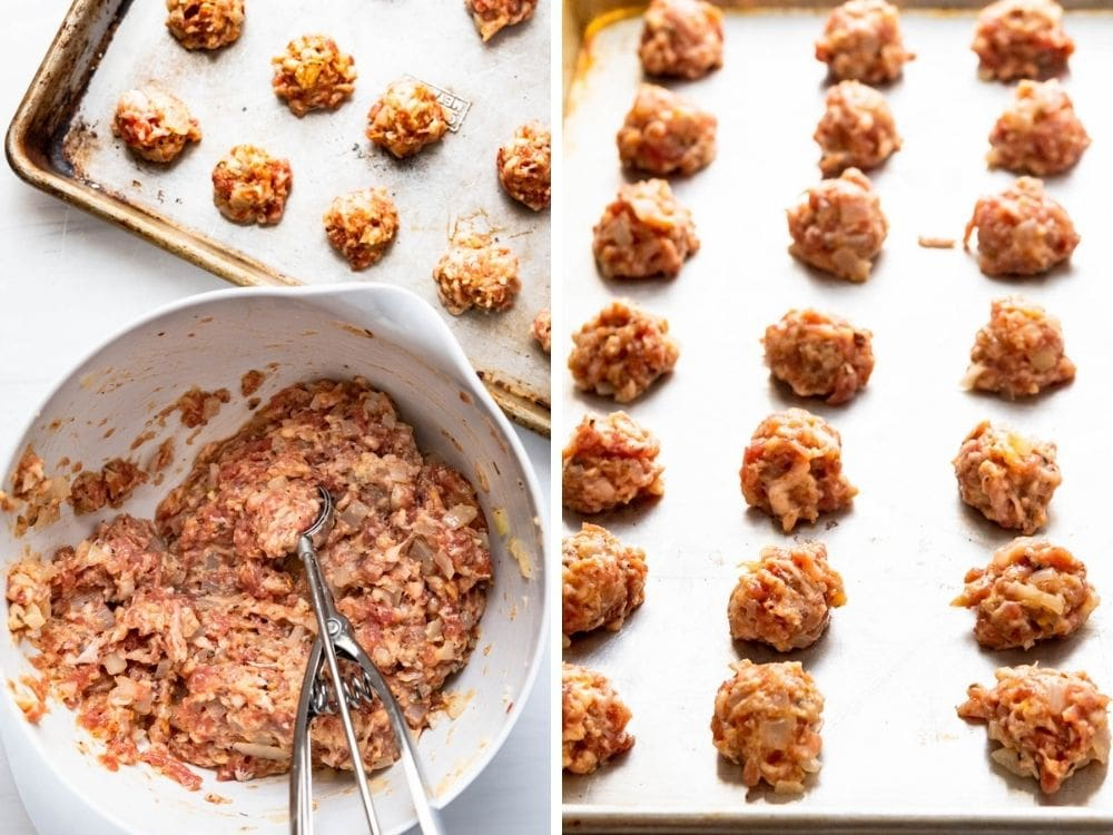 scooping meatballs to bake on a sheet pan.