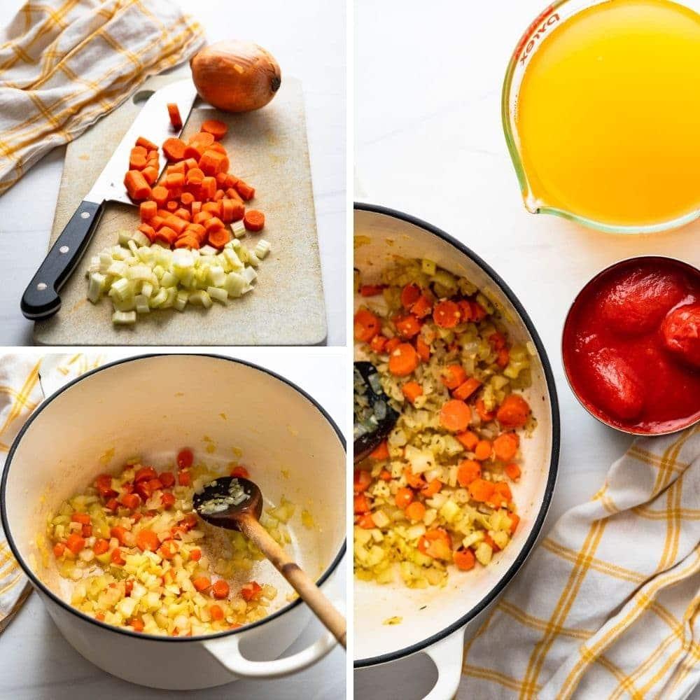 assembling Italian tomato and meatball soup.