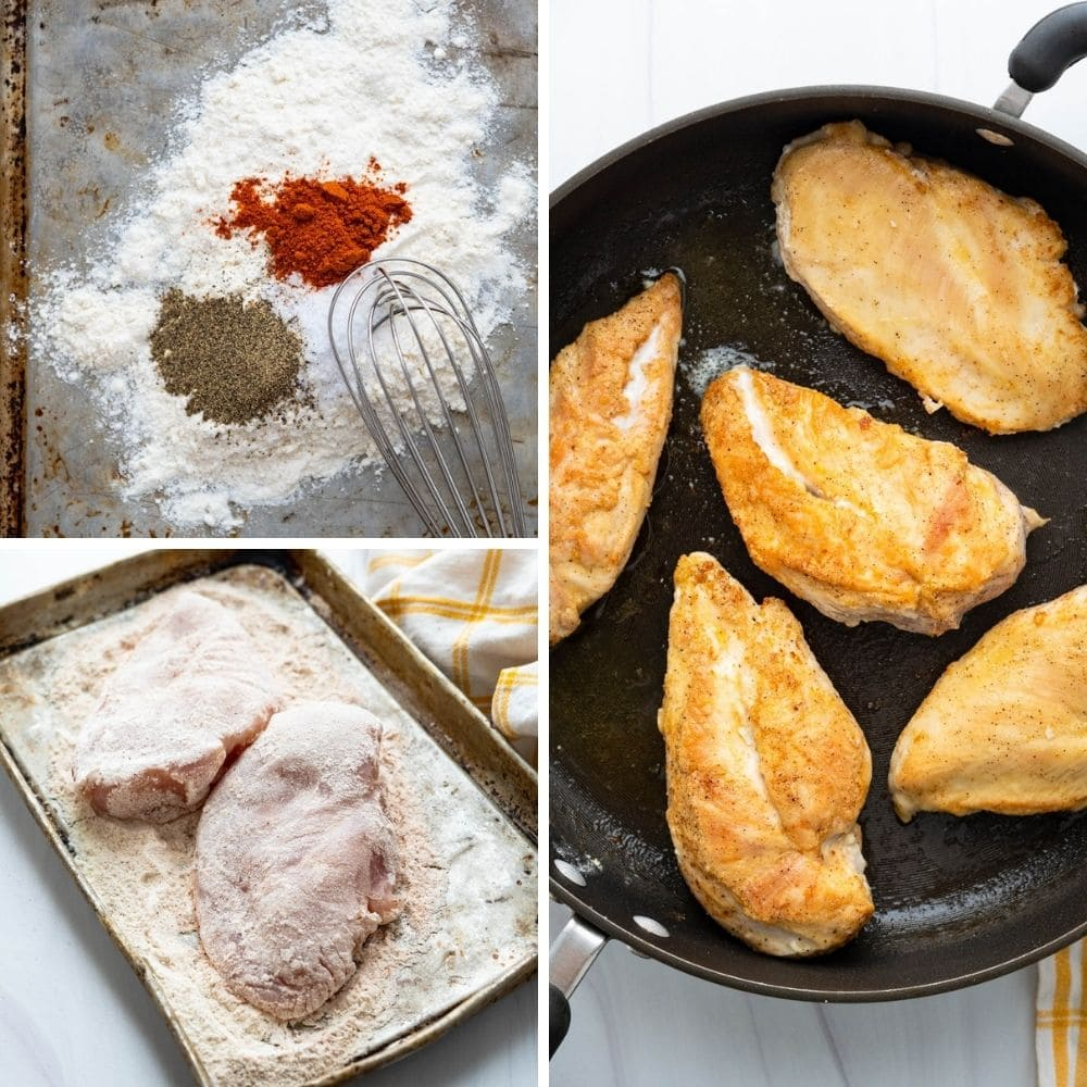 dredging and pan frying chicken in a pan.