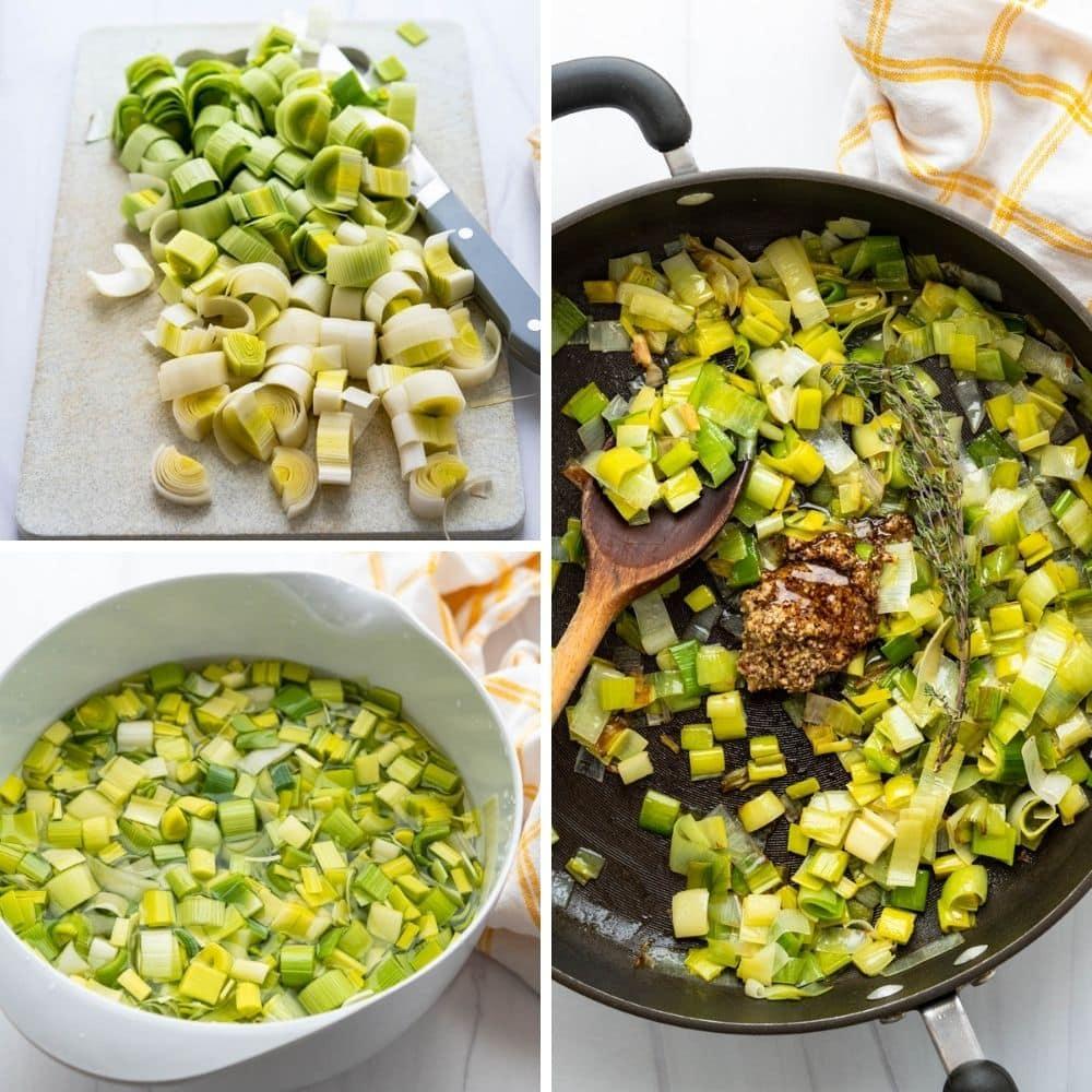 adding leeks dijon, thyme and honey to the pan.