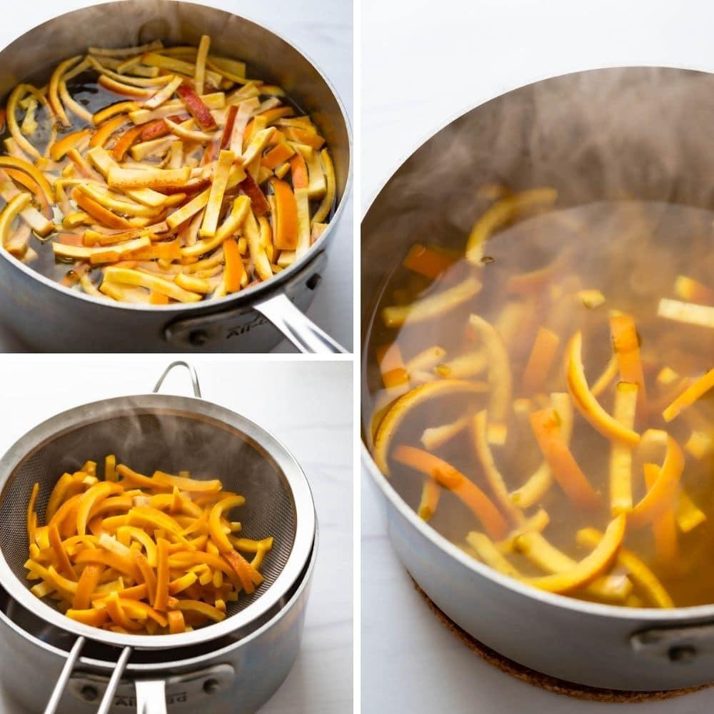 blanching orange peels in boiling water.