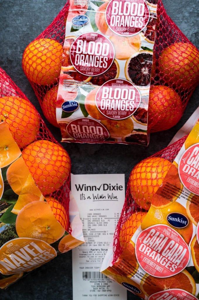 3 bags of fresh blood oranges, cara cara and navels.
