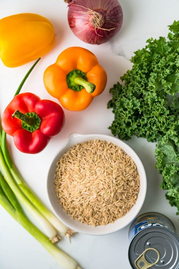 ingredients for summer rice salad recipe.