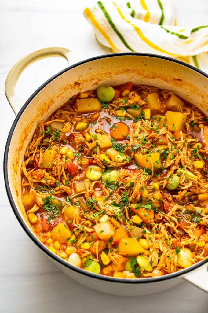 a pot of chicken brunswick stew - ready to serve.